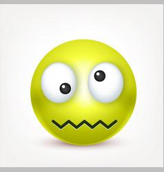Smiley green crazy emoticon yellow face with vector