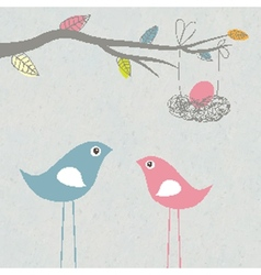Baby arriving card with birds family and egg in vector