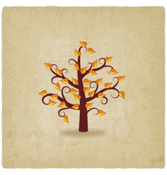 Autumn tree old background vector