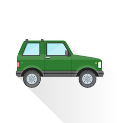 Flat green off-road suv car body style icon vector