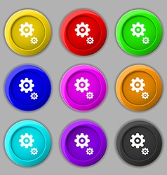 Gears icon sign symbol on nine round colourful vector