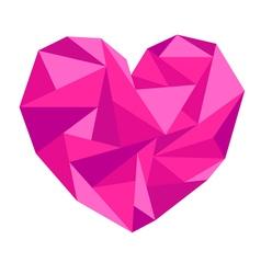 Pink origami heart vector