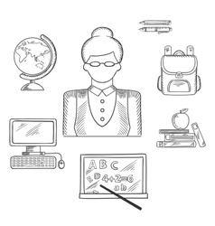 Teacher and education sketched icons vector