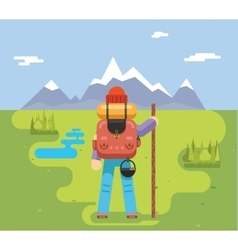 Mountain travel trip vacation backpaker man wood vector