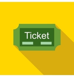 Green ticket icon in flat style vector