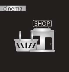 black and white style icon shop basket vector image vector image