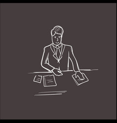 Business man hold paper documents sign up vector