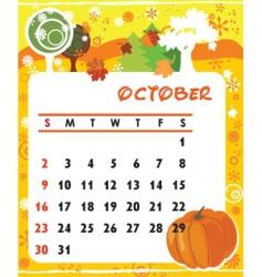 calendar october vector image vector image