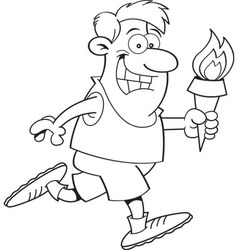 Cartoon man running with a torch vector image