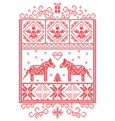 Christmas pattern in rectangle frame dala horse vector