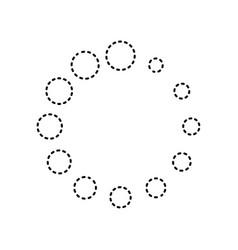 Circular loading sign black dashed icon vector
