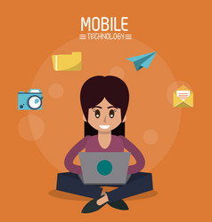 Color poster of mobile technology with woman vector