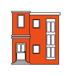 Color silhouette cartoon orange facade modern vector