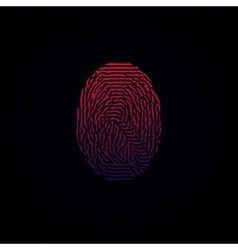 Colorful Fingerprint Red Pink on dark background vector image