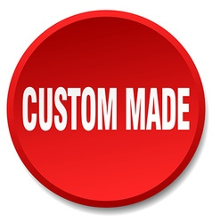 Custom made red round flat isolated push button vector