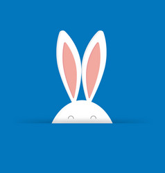Cute easter bunny in blue background vector