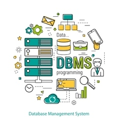 DBMS - line art concept vector image vector image
