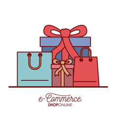 e-commerce shop online set gift and shopping bag vector image vector image