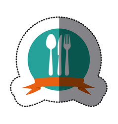 Emblem cutlery tools icon vector