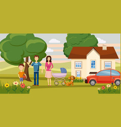 Family horizontal banner garden cartoon style vector