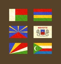 Flags of madagascar reunion seychelles mauritius vector