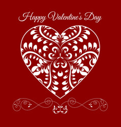Fretwork floral heart over red happy vector