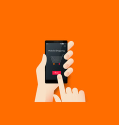 Hand holding smartphone with conceptual online vector