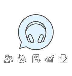 Headphones line icon music listening sign vector