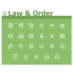 Law and Order icon set vector image