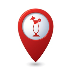 Map pointer with cocktail icon vector image vector image