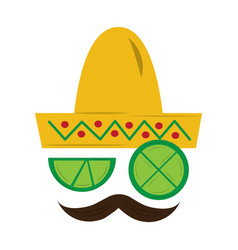 Mexican hat and mustache with slice lemon culture vector