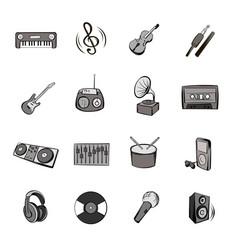 music icons set cartoon vector image
