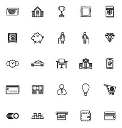Personal financial line icons on white background vector