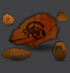 Scorpiozodiac in the form of cave painting vector