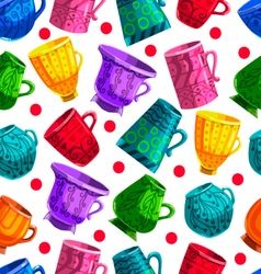 Seamless pattern with cartoon mugs with cooking vector