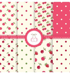 Set of cherry seamless patterns vector image