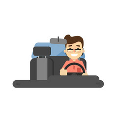 Smiling driver in car icon vector