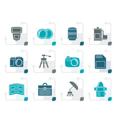 Stylized photography equipment icons vector