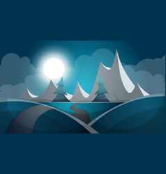 travel night cartoon landscape tree mountain vector image vector image