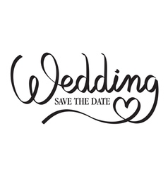 wedding hand lettering vector image vector image