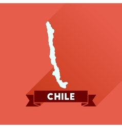 Flat icon with long shadow Chile map vector image