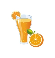 Orange juice breakfast food element isolated icon vector