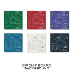 set of circuit board design vector image