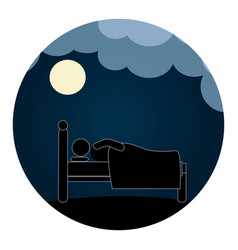 Circular pictogram with man in bed in the night vector