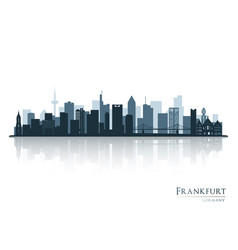 Frankfurt skyline silhouette with reflection vector