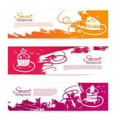Set of vintage bakery banners with cupcakes vector image