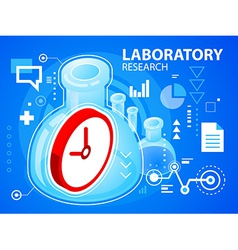 Bright laboratory research and clock on blue vector