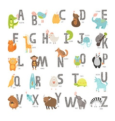 Cute zoo alphabet vector