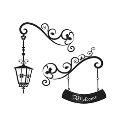 Street old lamp and sign vector