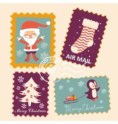 Vintage christmas stamps collection vector